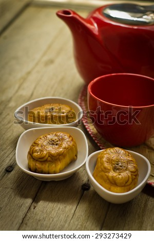 Mid-Autumn Festival  moon cake on  - stock photo