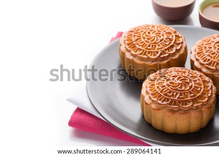 Mid-Autumn Festival moon cake on white background - stock photo