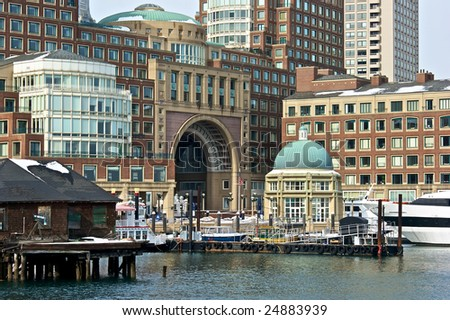 mid day at rowes wharf in boston massachusetts at the harbor - stock photo