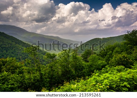 Mid-day view of the Appalachian Mountains from the Blue Ridge Parkway in North Carolina. - stock photo