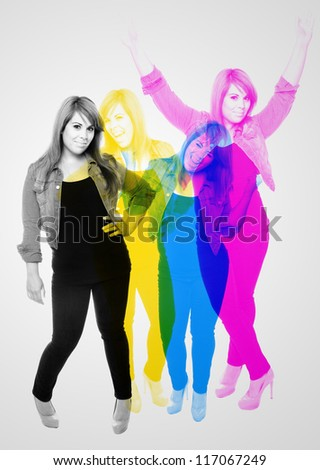 Mid 20s woman posing in a variety of poses and overlapped in Cyan Yellow Magenta and Black color hues.