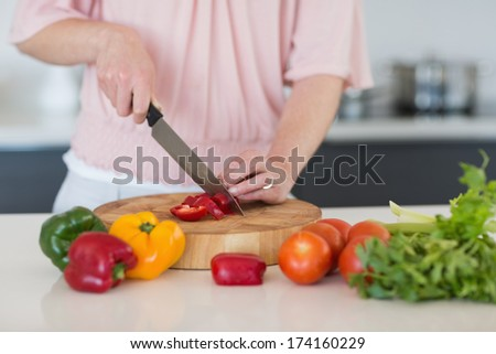Mid section of woman chopping vegetables at counter in kitchen
