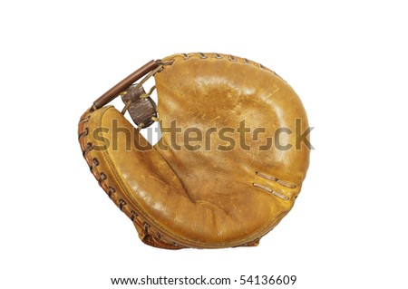 Mid 20th century baseball catcher's mitt, white iso. - stock photo