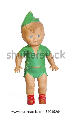 Mid 20th century rubber leprechaun doll, white iso.