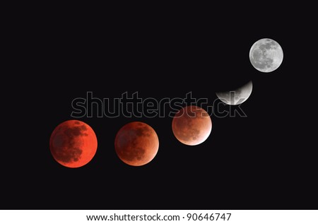 Mid-total-partial lunar eclipse phases observed on 10 December 2011 at Bahrain - stock photo