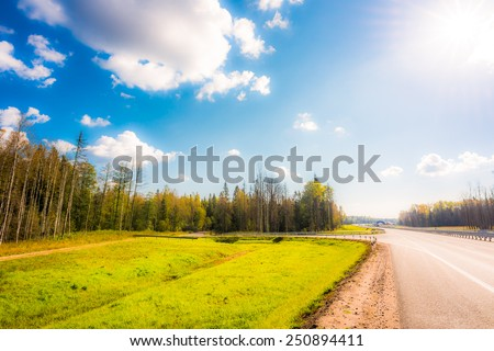Midday sun on country roads. In soft shades of tones - stock photo