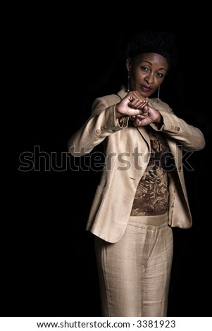 Middle age african businesswoman punching, people diversity series - stock photo