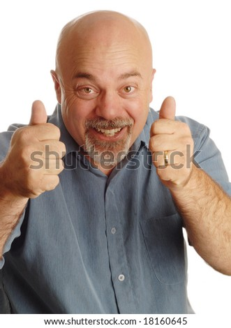 middle age bald man giving thumbs up with happy expression - stock photo