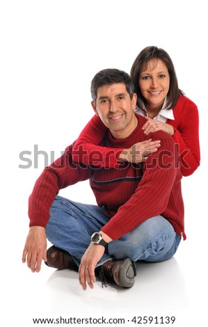 Middle age couple smiling isolated on a white background - stock photo