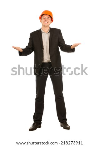 Middle Age Happy Male Engineer Opening His Palms Facing Upward Looking at Camera. Emphasizing Openness to any Suggestions. - stock photo