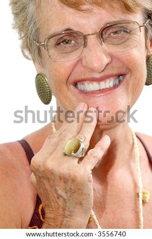 Middle age happy woman portrait . - stock photo