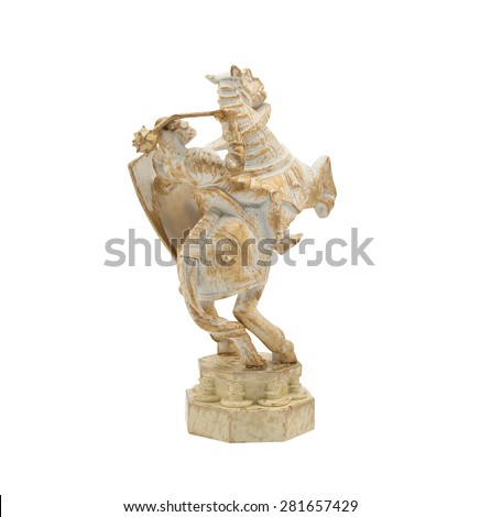 Middle age knight horseman toy. Isolated middle age, ancient knight horseman toy standing on white background angle view. - stock photo