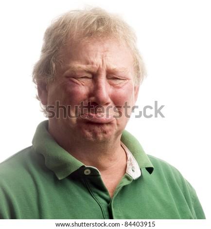 middle age senior man emotional funny face upset crying like a baby - stock photo