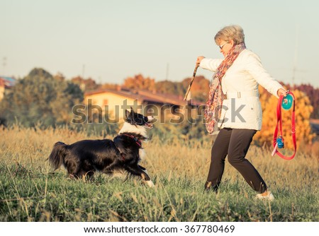 Middle age woman playing with her border collie dog in a field during an autumn day. Dog trying to catch the stick and having fun with mommy - stock photo