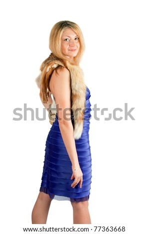 Middle age woman portrait with fur isolated on white - stock photo