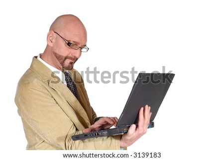 Middle aged attractive businessman working on  laptop. Business, communication concept. - stock photo