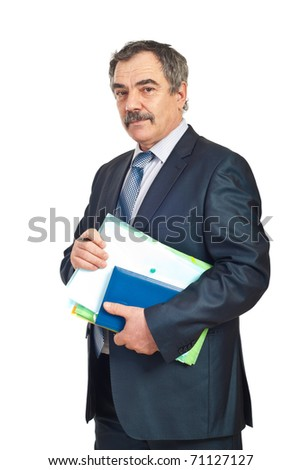 Middle aged business man holding folders and personal agenda isolated on white background