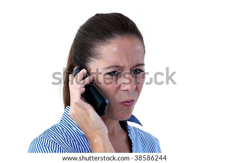Middle aged business woman on the telephone looking confused on a white background - stock photo