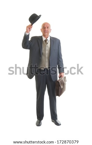Middle aged  businessman in a retro business suit with briefcase isolated on white.