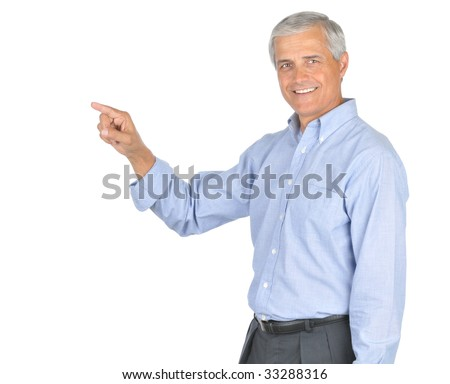 Middle Aged Businessman in Blue Shirt no Tie Smiling and Pointing isolated on white - stock photo