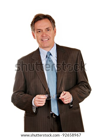 Middle aged businessman in pin striped suit - stock photo