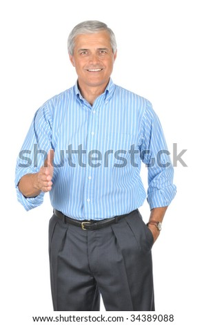 Middle Aged Businessman in Striped Blue Shirt with hand extended to Handshake isolated on white