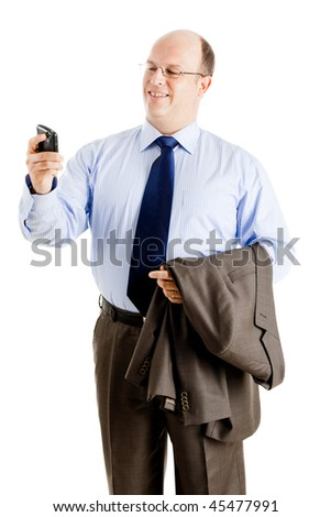 Middle-aged businessman sending a text message, isolated on white background - stock photo