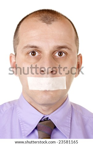 Middle aged businessman with duct tape on his mouth