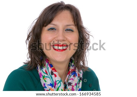 Middle aged businesswoman in shirt and scarf looking at your eyes with benignly with warm smile - stock photo