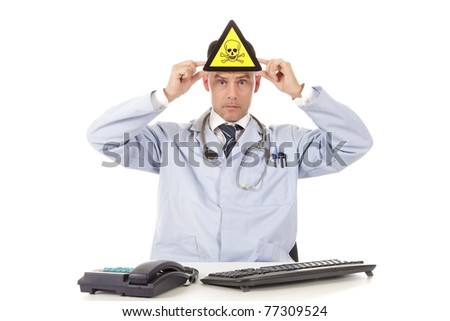 Middle aged  caucasian man doctor with danger sign. Studio shot. White background - stock photo