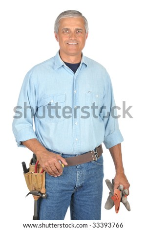 Middle Aged Construction Worker with Arms Folded wearing toolbelt isolated on white - stock photo