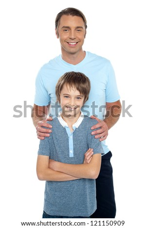 Middle aged father posing with his smart son, all against white background. - stock photo