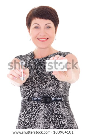 middle aged female estate agent holding key and visiting card  isolated on white background - stock photo