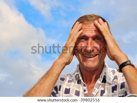 Middle aged male person with interesting gestures - stock photo