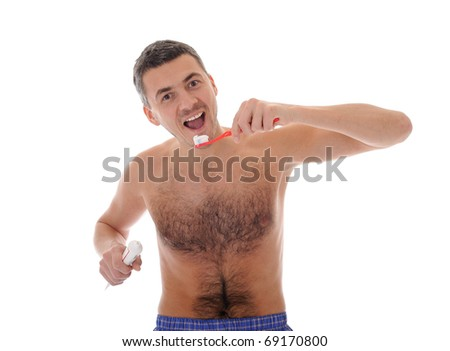 Middle aged man brushing his teeth in the morning. isolated on white background