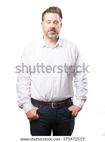 middle aged man closing eyes