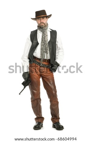 Middle aged man dressed as a retro style. - stock photo
