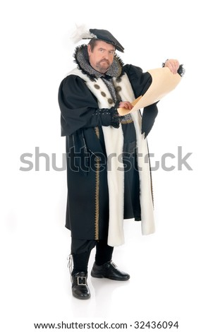 Middle aged man imitator dressed as Shakespeare.  Studio, white background