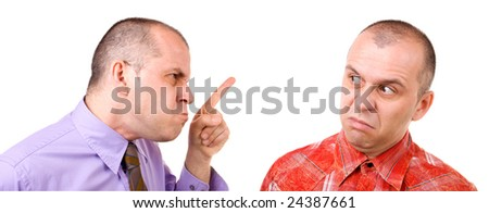 Middle aged man mad at himself isolated on white - stock photo