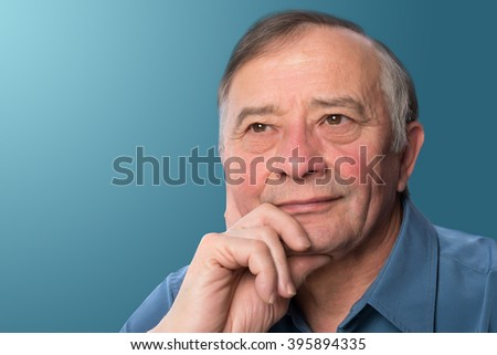 Middle Aged Man on Blue backround
