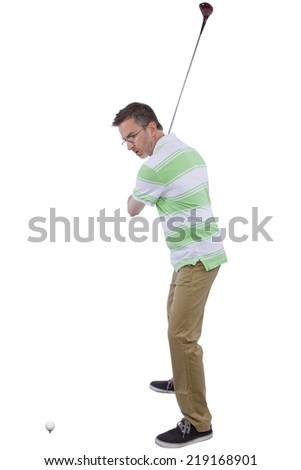 middle-aged man staying healthy and active by playing golf - stock photo