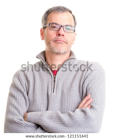 Middle Aged Man with arms folded over white background - stock photo