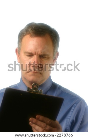 Middle-aged man with grave expression on face - stock photo