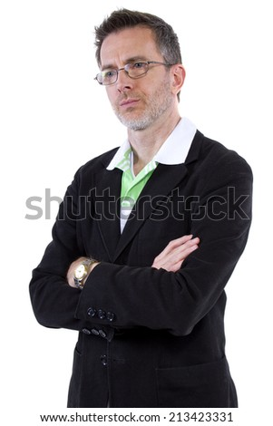 middle-aged man with grumpy expression on white background - stock photo