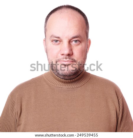 middle aged man with neutral but friendly expression - stock photo