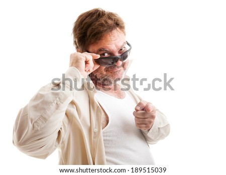 Middle-aged man with sunglasses, who thinks he's cool, trying to pick up women.  Isolated on white.