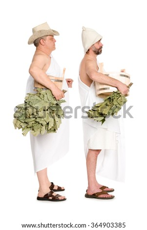 Middle-aged men with oak twigs for the Russian baths. From a series of Russian bath.