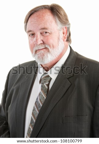 Middle aged smiling man with necktie and suit - stock photo