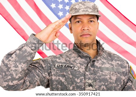 middle aged soldier saluting with American flag on background - stock photo