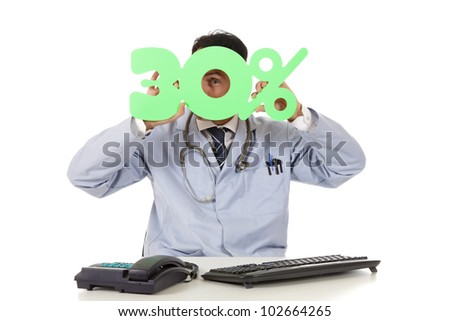 Middle aged successful caucasian man doctor holding up a health care sale sign, 30 %. Studio shot. White background